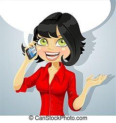 電話, 女孩, 黑發淺黑膚色女子, 談話