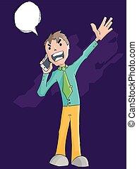 電話, 憤怒, 尖聲叫, 商人