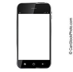 電話, background..vector, 空白, 摘要, 被隔离, 屏幕, 白色, 現實, 設計, 插圖, 流動