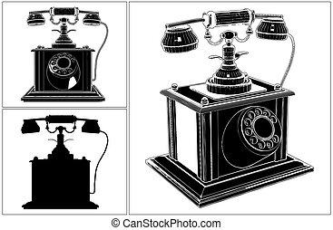 電話, white..., retro, 被隔离