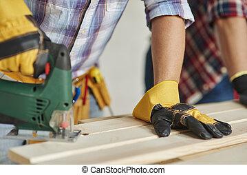 電, 木制, 木匠, 鋸, 看見, 板條