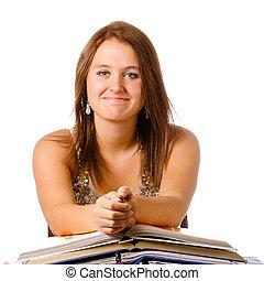 青少年女孩, 學習, 被隔离, 書, 微笑, 白色, 愉快