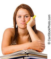 青少年, 教科書, 學習, 學校, 不快樂, 被隔离, 女孩, 厭煩, 白色
