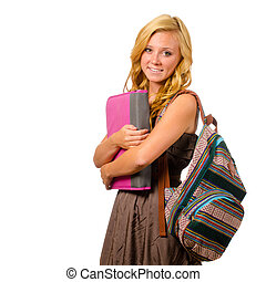 青少年, 背包, 被隔离, 黏合劑, schoolgirl, 肖像, 微笑, 白色, 愉快