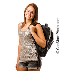 青少年, 背包, 被隔离, schoolgirl, 肖像, 微笑, 白色, 愉快