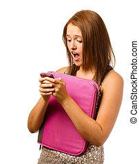 青少年, 起反應, 震動, texting, 被隔离, schoolgirl, 驚奇, 白色
