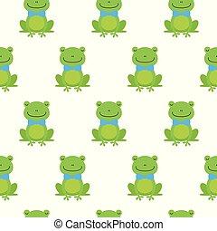 青蛙, 圖案, seamless, 弓, 矢量, 領帶, 愉快, 卡通, 好