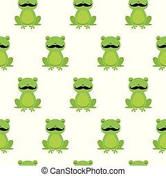 青蛙, 圖案, seamless, 矢量, 愉快, 卡通, 小胡子, 好