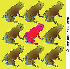 青蛙, 在外, 站立, 人群, 大膽