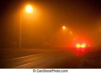 非常, 有霧, 路, 夜晚