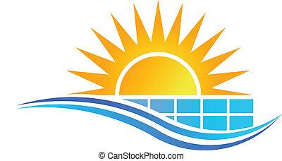 面板, 太陽, 矢量, 太陽, 標識語