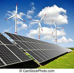 面板, 能量, 渦輪, 太陽, 風