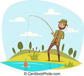 鞭笞, 魚鉤, 矢量, 抓住, 釣魚, 人