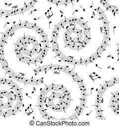 音樂, 圖案, -, 矢量, 背景, seamless, 螺旋, 注釋