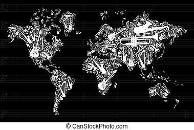音樂, 地圖, 世界