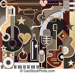 音樂, 摘要, 矢量, -, 插圖