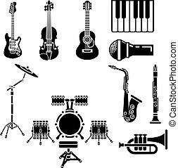 音樂, 集合, 儀器, 圖象
