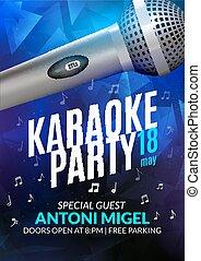 音樂, template., 夜晚, 音樂會, 設計, design., karaoke, 飛行物, 邀請, 聲音, 海報, 黨