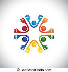 預, 代表, 愉快, 孩子, 或者, &, 也, vector., 黨, 快樂, 鮮艷, 學生, 孩子, playschool, 朋友, 學校, 圖表, playhome, 一起, 玩, 罐頭, 樂趣, 有