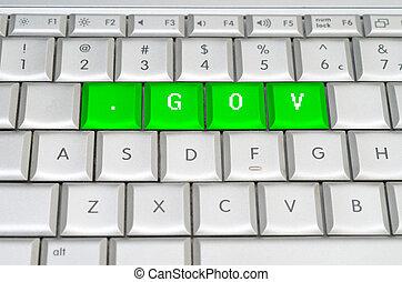 領域, 水平, .gov, 網際網路, spelled, 金屬, 鍵盤, 頂部