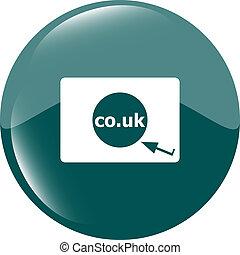 領域, 符號, co.uk, 簽署, 英國, 網際網路, icon., subdomain