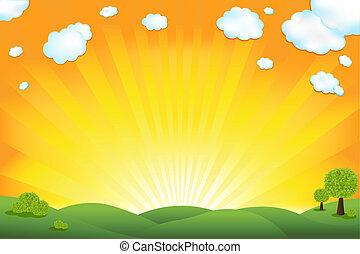 領域, 綠色, 日出, 天空