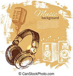 頭戴收話器, retro, 飛濺, 手, 團點, 音樂, 設計, 背景。, 葡萄酒, illustration., 畫