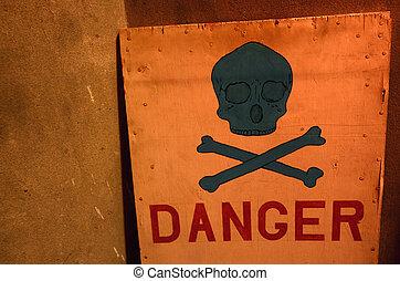 頭骨, 危險標誌, 黑色, 在下面, 紅色