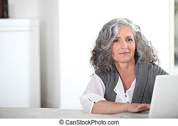 頭髮, 灰色, 婦女, 電腦