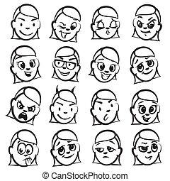 頭, 圖, 系列, -, 感情, 棍, 婦女
