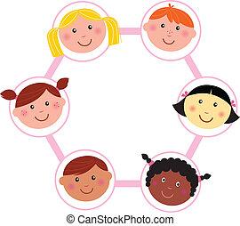 頭, 多文化, 孩子, 環繞