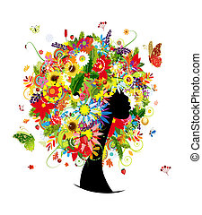 頭, 婦女, 葉子, 發型, 四個季節, 花, 設計