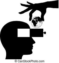 頭, 頭腦, 手, 抽屜, 世界, 男性, 打開
