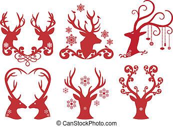 頭, 鹿, 聖誕節, 矢量, stag