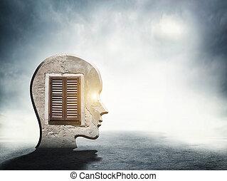 頭, 黑色半面畫像, 裡面, 一, 窗口, 人類