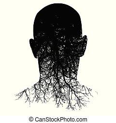 頭, 黑色半面畫像, 這, morphs, man?s, 根