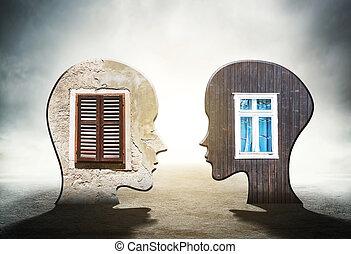 頭, windows, 裡面, 二, 黑色半面畫像, 人類