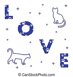 題字, 貓, 愛, traces.