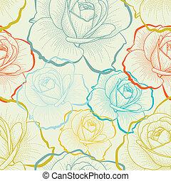 顏色, 圖案, seamless, 手, 玫瑰, 圖畫