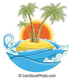顏色, 符號, 熱帶, 太陽背景, 被隔离, island., 矢量, 海景, 白色