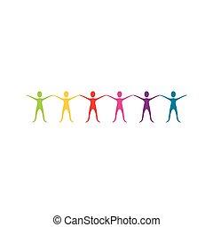 顏色, 舉起手來, 圖象, 人們