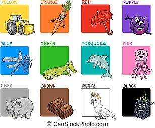 顏色, 集合, 主要, 卡通