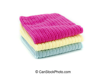 顏色, 鮮艷, 紅色, 空間, 藍色, 被隔离, 毛巾, neatly, 白色, 模仿, 黃色, 權利, 背景。, 堆, 棉花, 摺疊