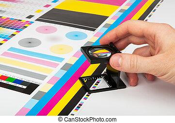 顏色, prepress, 管理, 印刷品, 生產