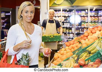 顧客, 微笑, 蘋果, 超級市場, 藏品