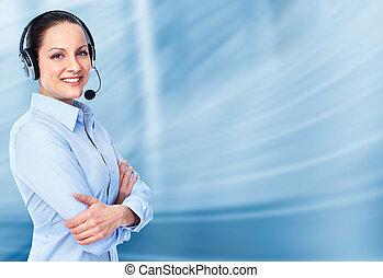 顧客, 操作員, woman., 呼叫中心