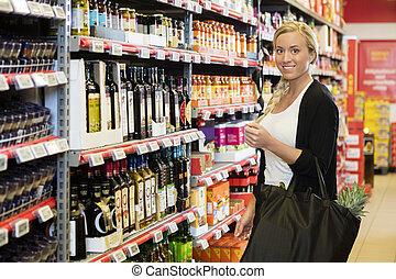 顧客, 站立微笑, 女性, 超級市場