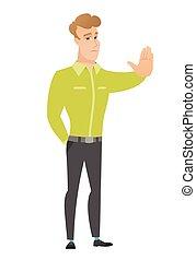 顯示, 停止, gesture., 手, 商人, 高加索人