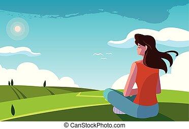 風景, 坐, 觀察, 自然, 婦女