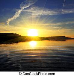 風景, 湖, 日出, 早晨